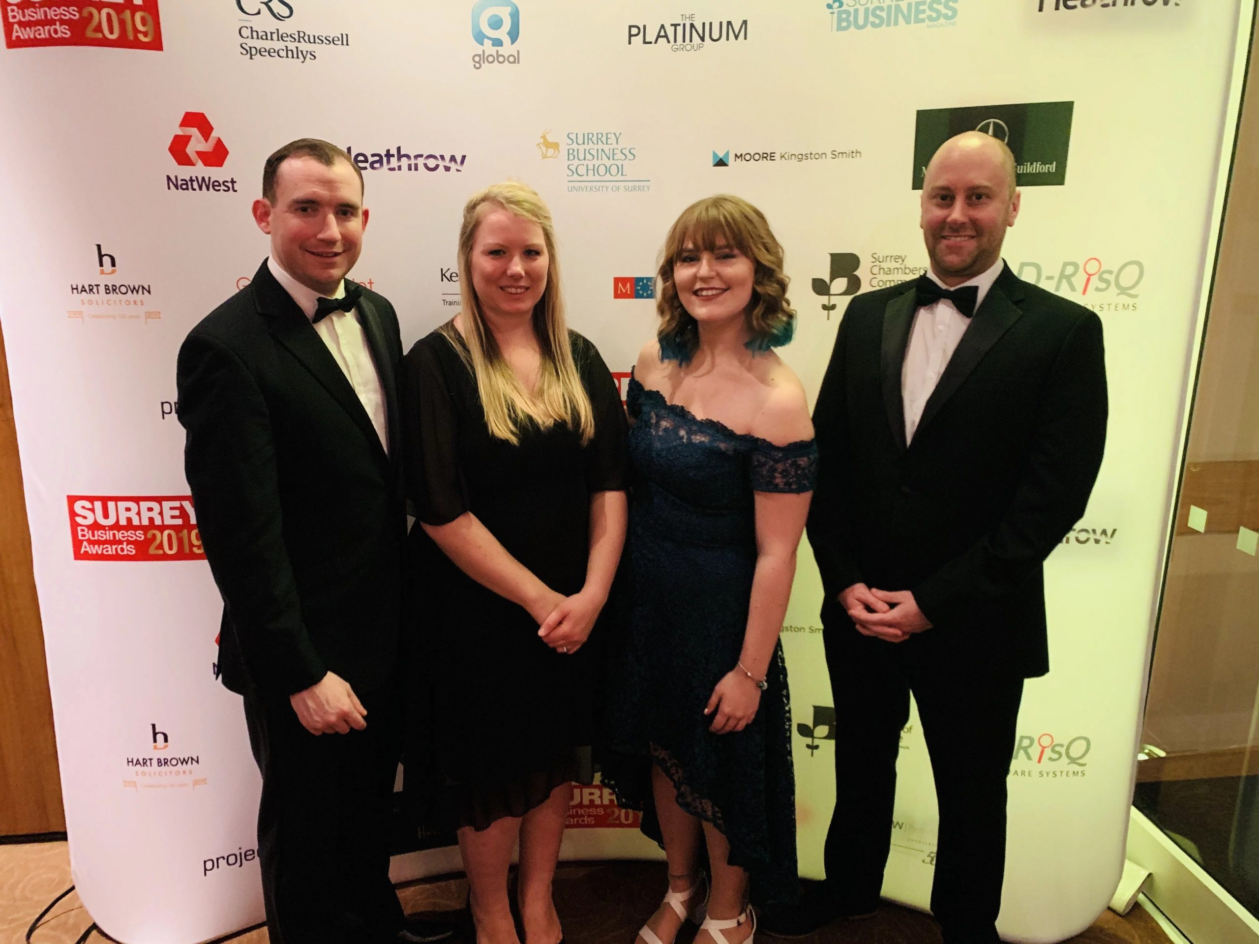 Michael Higgins and the Lovetts team at the 2019 Surrey Business Awards